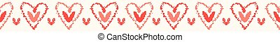 Vector coral and white textured 2 hearts entwined . Seamless...