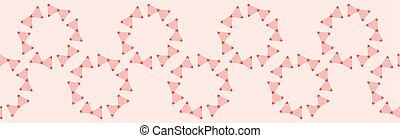 Vector Coral Geometric Flowers Seamless Repeat Border