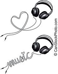 vector, corazón, auricular