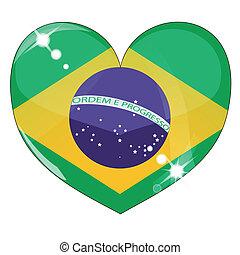 vector, corazón, con, bandera del brasil, textura
