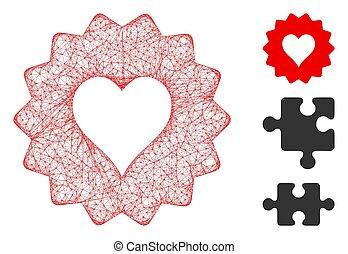 vector, corazones, muestra, tela, ilustración, malla, ...