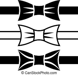 vector, corbata de lazo, negro, símbolos