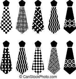 vector, corbata, negro, siluetas