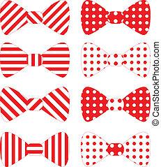 vector, corbatas, conjunto, arco rojo