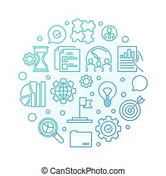 Vector core values blue round outline illustration