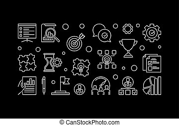 Vector core values horizontal concept outline illustration