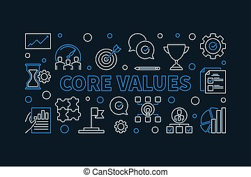 Vector Core Values horizontal linear simple illustration