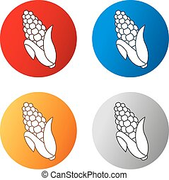 Vector corn free symbols isolated on white background. Silhouettes maize in a circle button. Red, blue, orange and silver icon.