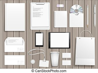 Vector corporate mock up. Set items with the tablet, cover, business card, bag, envelope, pencil and pen.