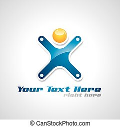 Vector corporate success logo with abstract human figure.