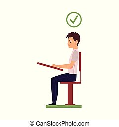 vector correct head posture sitting at desk