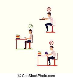 vector correct, incorrect head sitting at desk