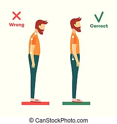 vector correct, incorrect head sitting at desk