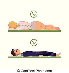 vector correct sleeping posture of man, woman