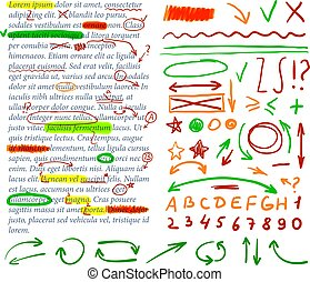 Vector Correction Marks Set, Colorful Design Elements.