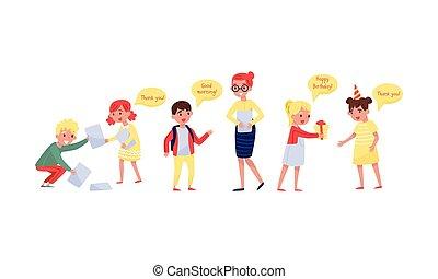 vector, cortés, illustration., cada, ayuda, otro., niños