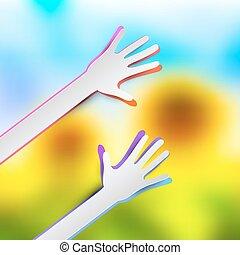 vector, corte, colorido, confuso, papel, girasoles, plano de fondo, manos