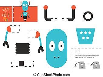 vector, corte instrumentos de crédito, robot, worksheet, ...