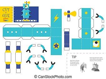 vector, corte, robot, pegamento, juguete, ilustración