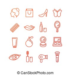 Vector cosmetics and beauty icons