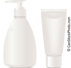 cosmetics soap and gel containers