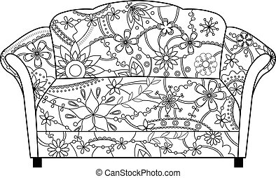 couch coloring - vector couch coloring
