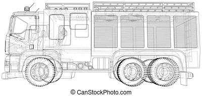 vector., couches, truck., brûler, visible, separated., wire-frame., format, invisible, eps10, lignes, moteur