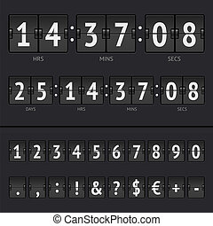 Vector countdown timer and scoreboard numbers - Vector...