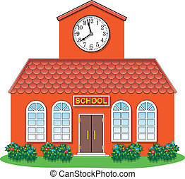 vector country school building - vector illustration of...