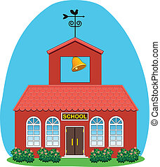 vector country school house - vector illustration of country...