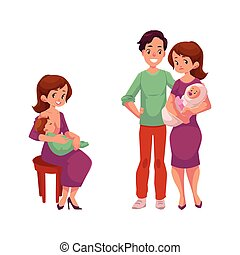 vector couple with infant, woman with newborn baby