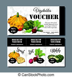 Vector coupon template with vegetables. Set of farmer banners with sketches. Illustration for voucher, label, card