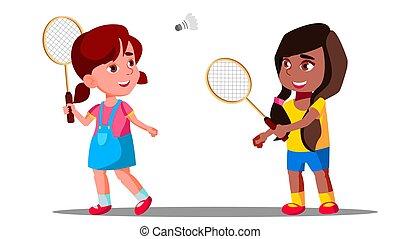vector., cour de récréation, girls., jouer, isolé, été, illustration, badminton, enfants