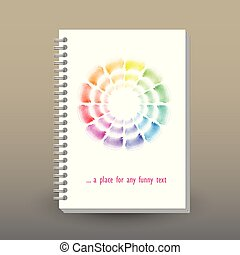 vector cover of diary or notebook with ring spiral binder -...