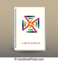vector cover of diary or notebook with ring spiral binder - format A5 - layout brochure concept - rainbow full color spectrum colored pinwheel on white background
