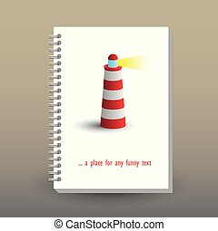 vector cover of diary or notebook with ring spiral binder - format A5 - layout brochure concept - red and white colored lighthouse symbol with yellow light