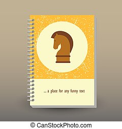 vector cover of diary or notebook with ring spiral binder - format A5 - layout brochure concept - yellow, brown and beige colored with horse chess piece - business strategy icon