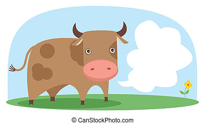 Vector cow in the field. Grouped and layered objects for...