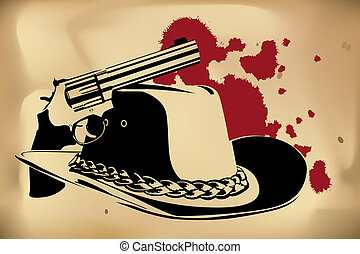 cowboy background - vector cowboy background (revolver and ...