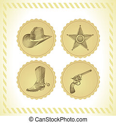 vector cowboy icon set - in engraving style