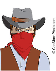 Vector cowboy in mask. Bandit on white