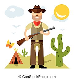 Vector Cowboy with rifle. Flat style colorful Cartoon illustration.