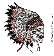 vector, cráneo, aislado, ilustración, mano, indio, dibujado