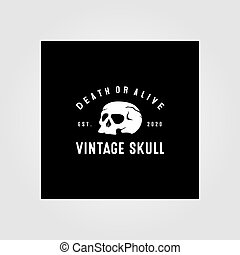 vector, cráneo, ilustración, diseño, logotipo, vendimia