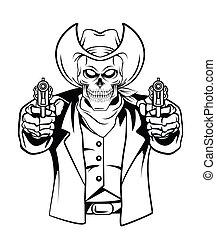 vector, cráneo, ilustración, vaquero