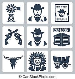 vector, cráneo, indio, cartel, iconos, bandido, alguacil, aislado, jefe, revólveres, pradera, bar, occidental, longhorn, querido, molino de viento, set:, goleta