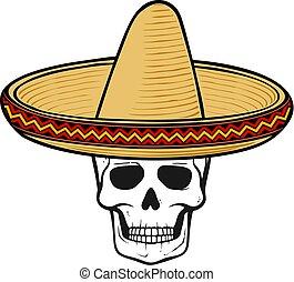 vector, cráneo, sombrero, ilustración, hat), (mexican