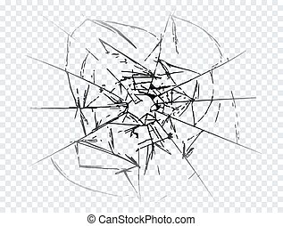 Vector cracked crushed realistic glass