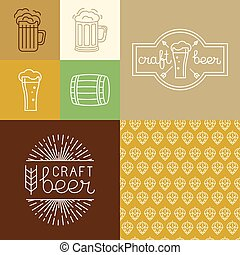 Vector craft beer and brewery logos and design elements in...