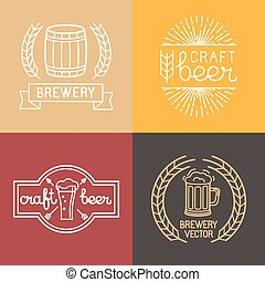 Vector craft beer and brewery logos and labels in linear...